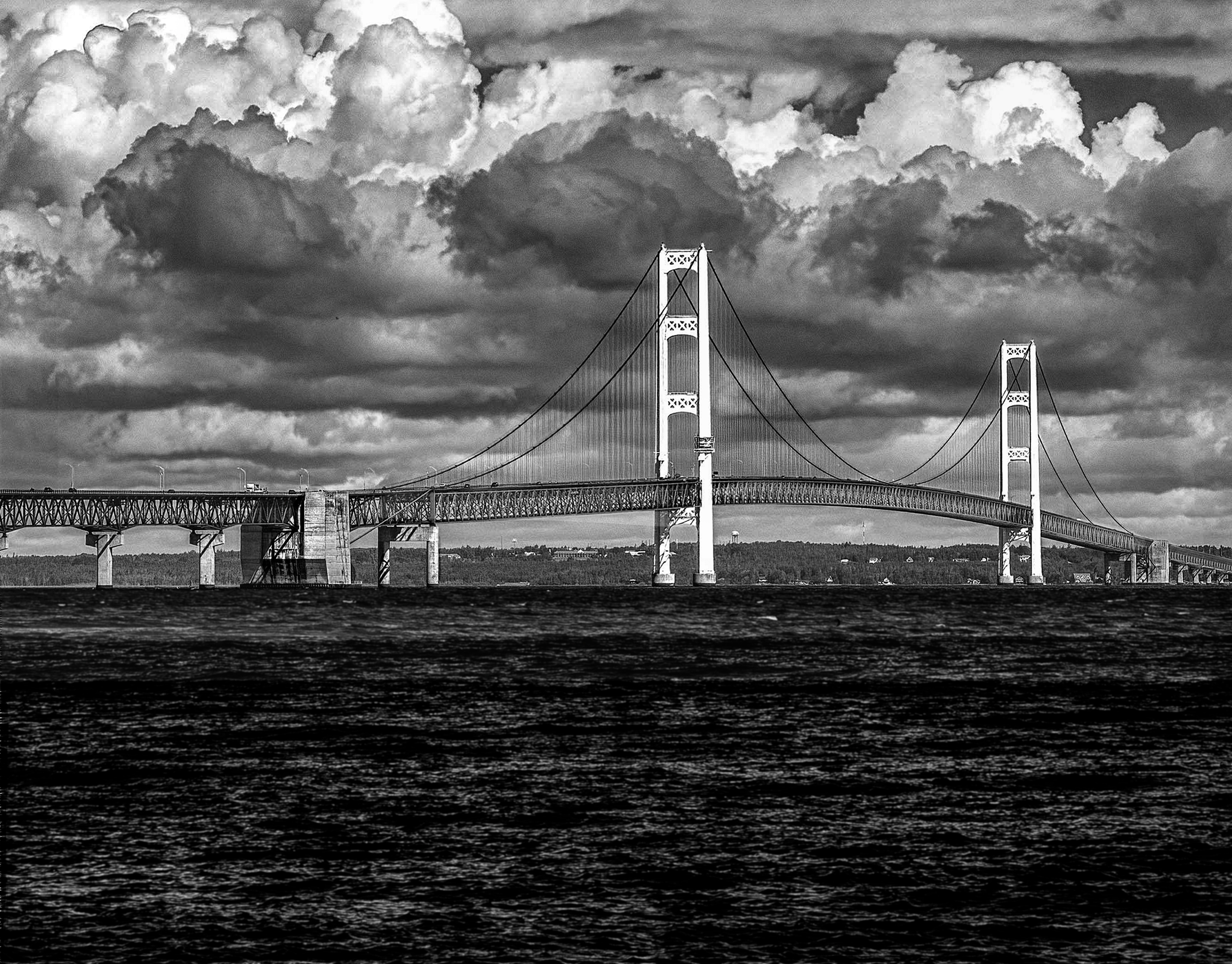 Mackinac Bridge 4 (13.75x10.75)  B&W  NIK HDR (316 of 3850) 2